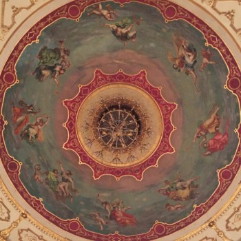 Wonderful ceiling of the Teatro Regio, one of Italy's most important opera houses