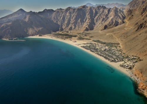 aerial view of Zighy Bay and Zighy Bay Six Senses Resort