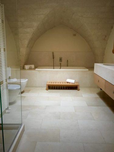 arches are graceful and cozy and very Puglia.  Here in the bathroom of Hotel La Sommita, Ostuni